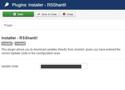 Insert your license code to Installer Plugin RSShanti!