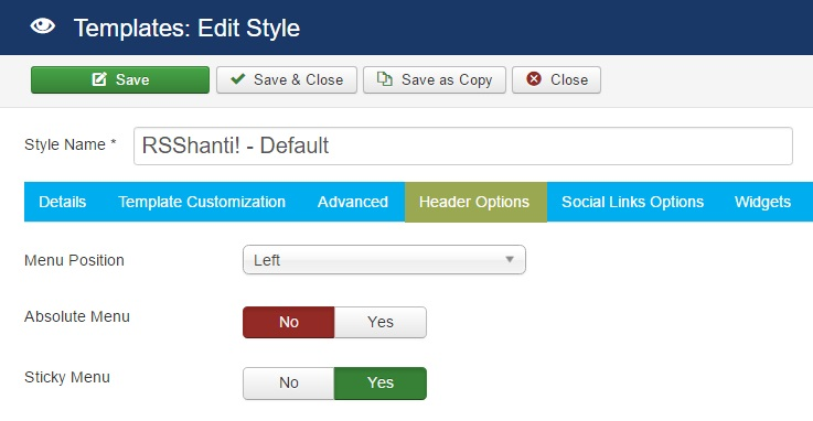 RSShanti! Joomla! 3.x template Header Options Tab preview