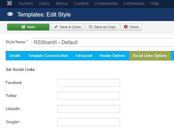 RSShanti! Joomla! 3.x template Social Links Options Tab preview