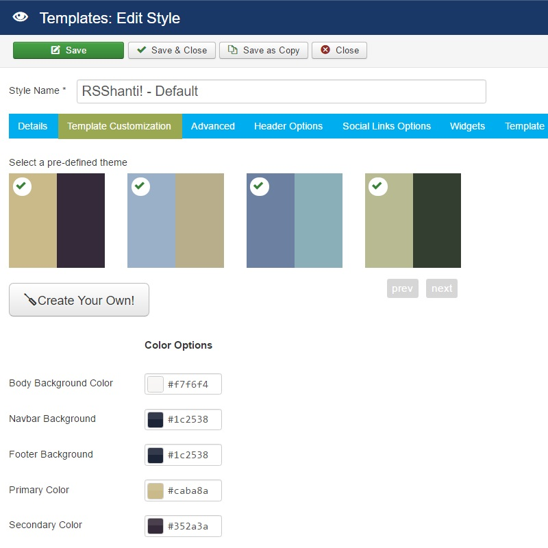 RSShanti! Joomla! 3.x template Advanced Tab preview 1