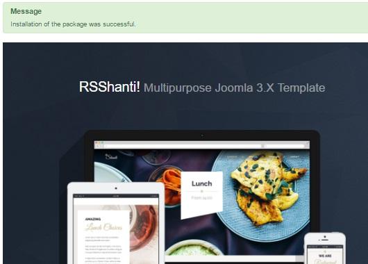Installing RSShanti! 3.x Joomla! template Step 4