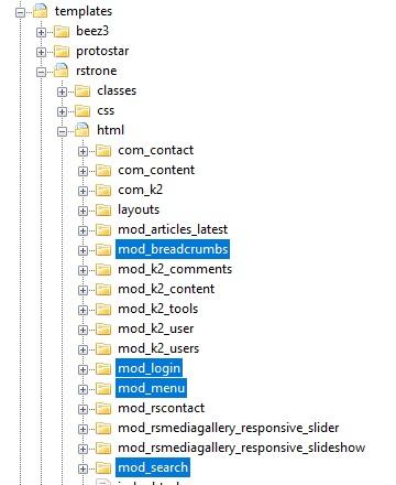 Built-in overrides Default Joomla! Modules