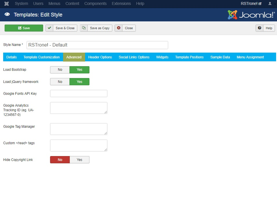 RSTrone! Joomla! 3.x template Logo Options Tab preview