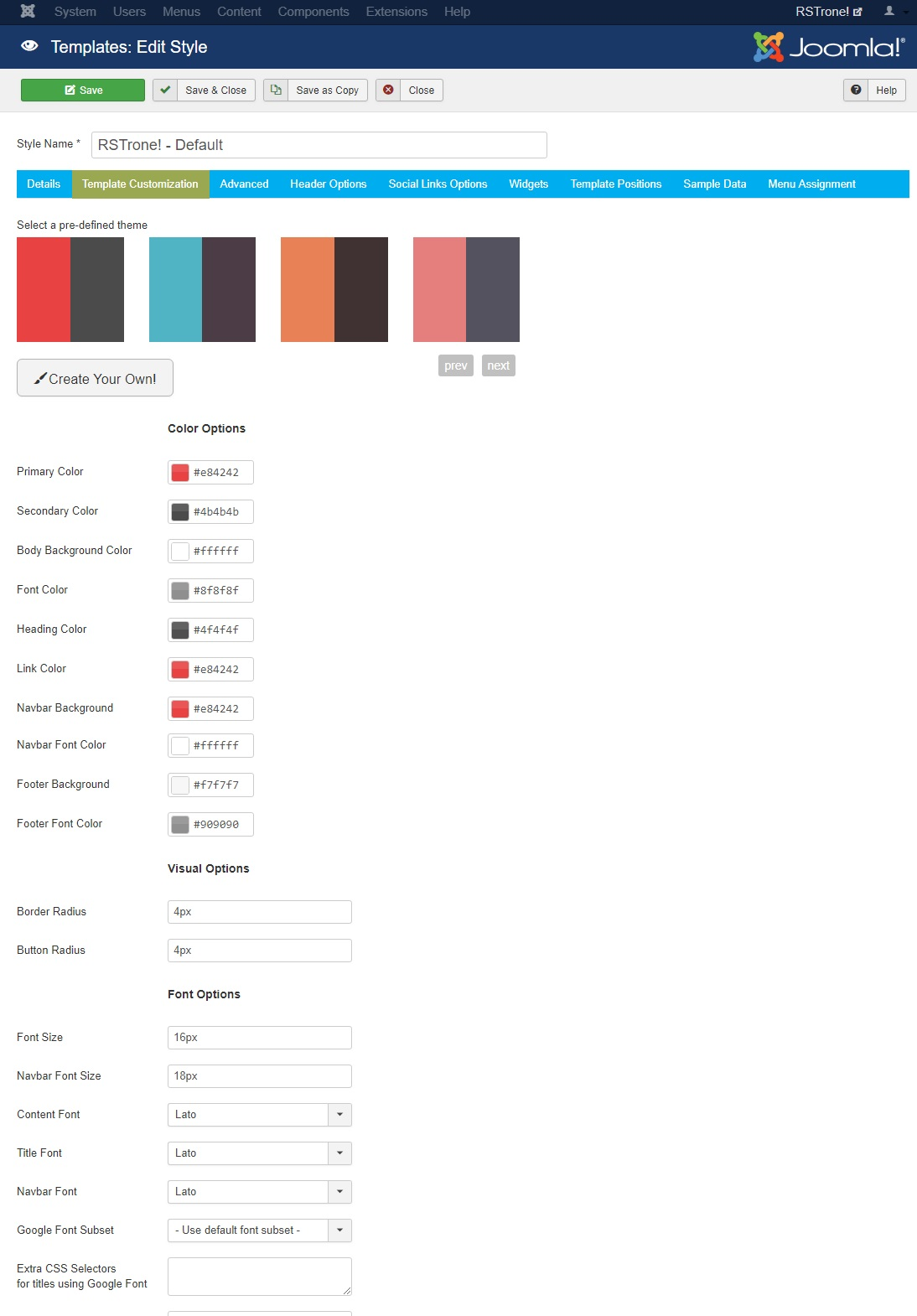 RSTrone! Joomla! 3.x template Advanced Tab preview 1