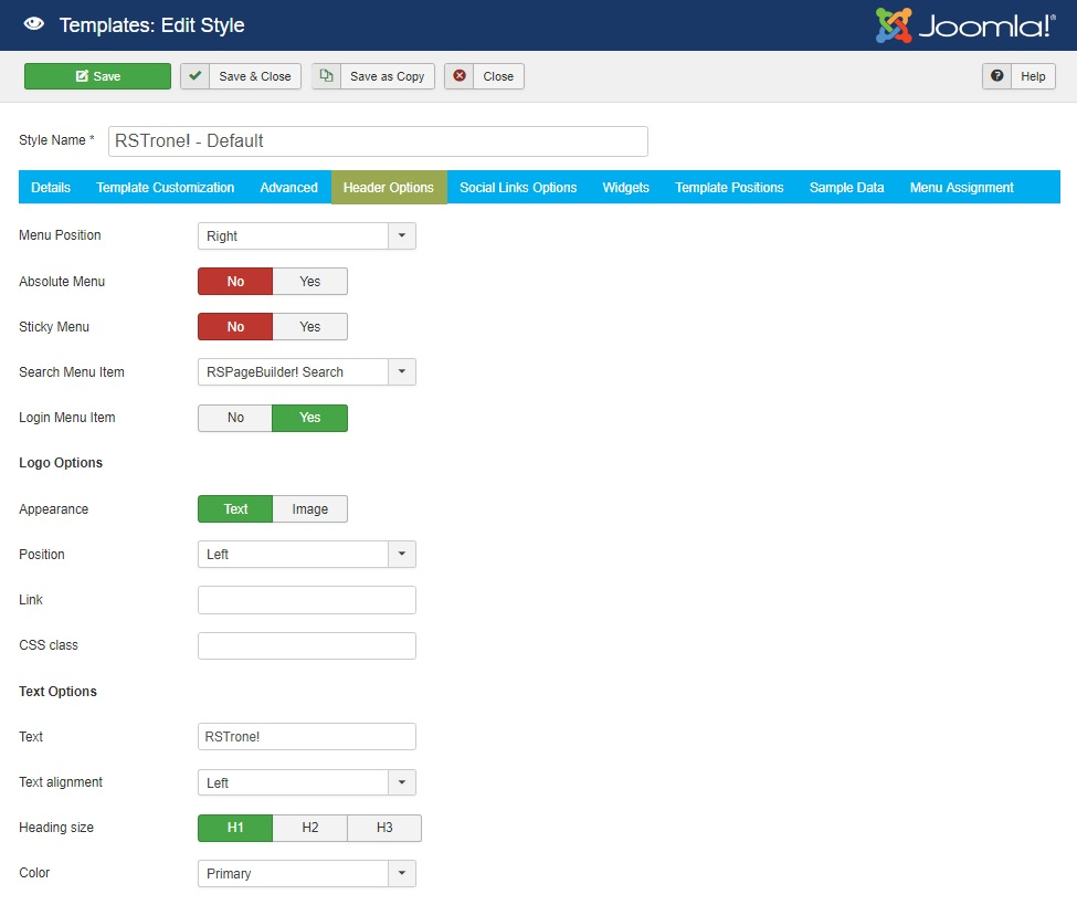RSTrone! Joomla! 3.x template Header Options Tab preview