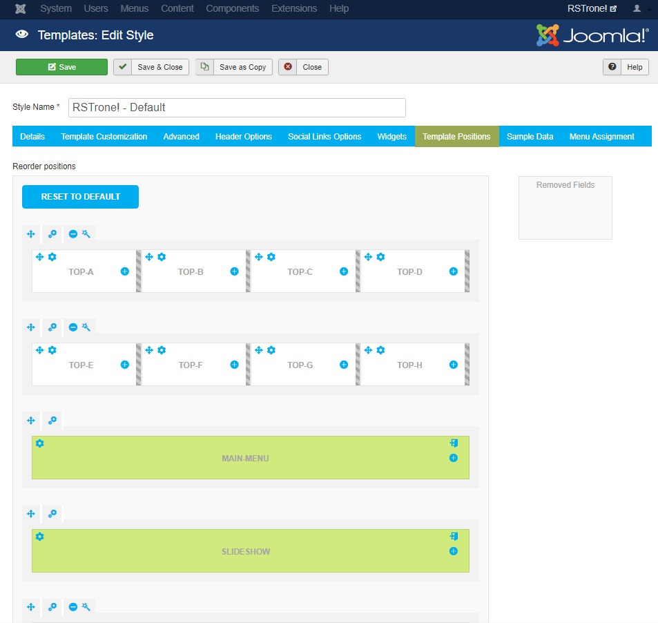 RSTrone! Joomla! 3.x template Template Positions Tab preview
