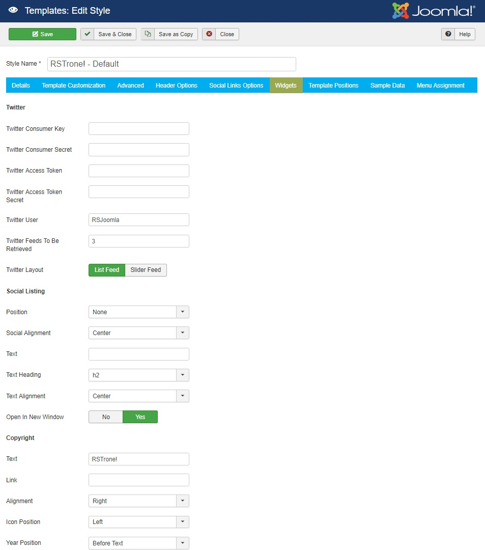 RSTrone! Joomla! 3.x template Widgets Tab preview
