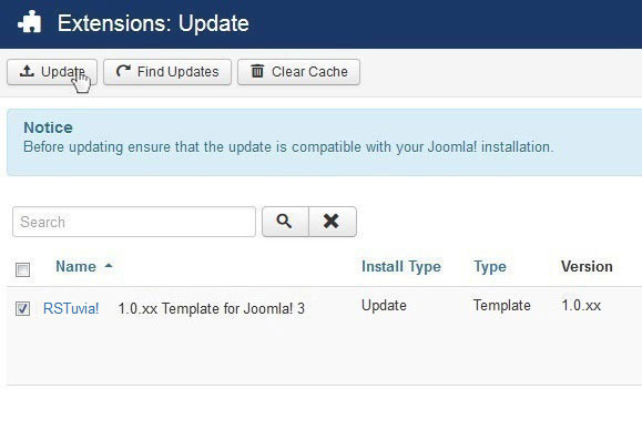 Select RSTuvia! 1.0.xx Template for Joomla! 3 and Update