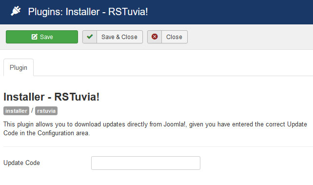 Insert your license code to Installer Plugin RSTuvia!