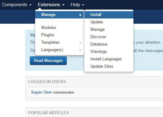 Installing RSTuvia! 3.x Joomla! template Step 2