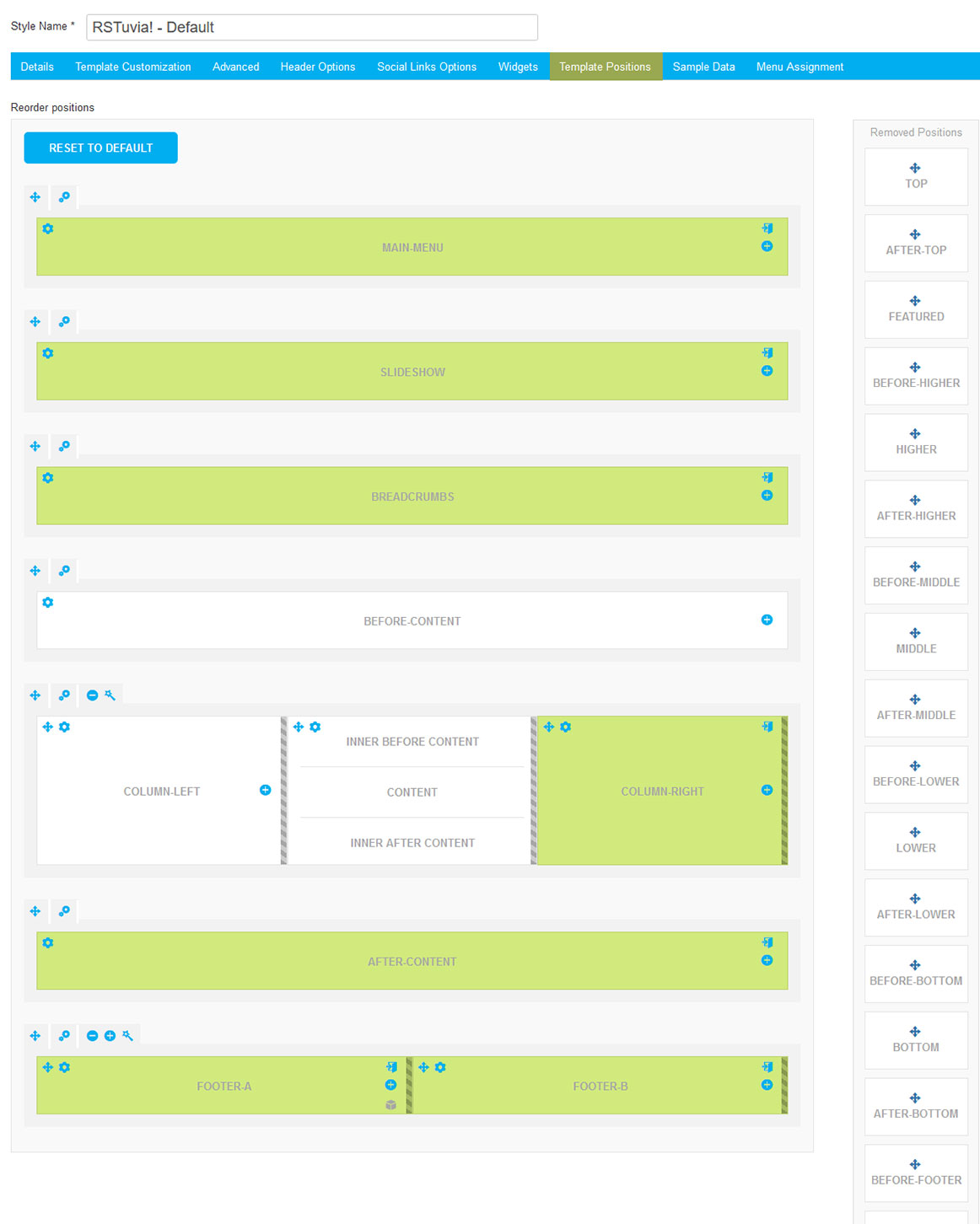 RSTuvia! Joomla! 3.x template Template Positions Tab preview