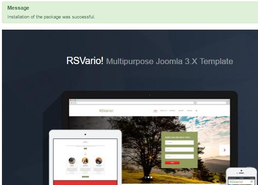 Installing RSVario! 3.x Joomla! template Step 4
