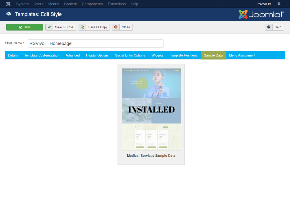 Installing RSVivo! 3.x Joomla! Sample Data